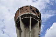 Damaged water tower in Vukovar, Croatia.