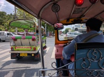 Back in Bangkok, tuk-tuk ride.